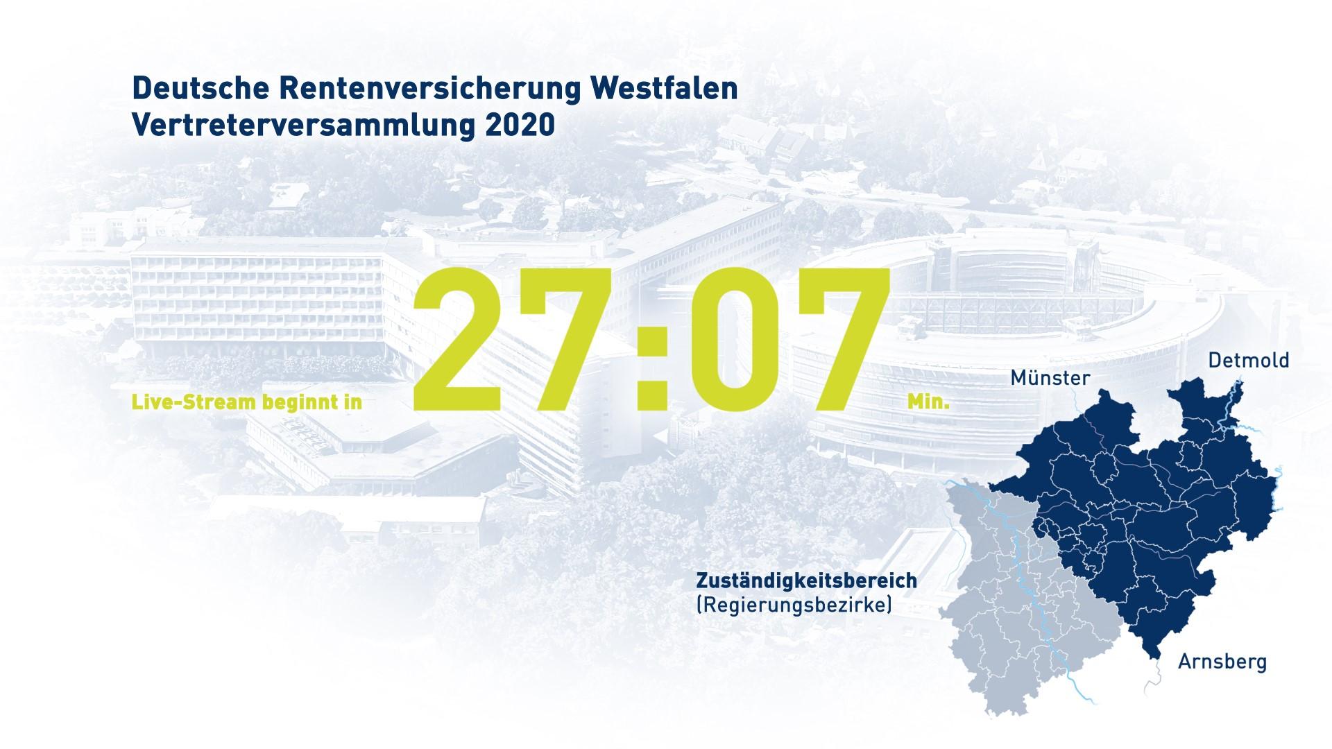 Streaming-Countdown für die Vertreterversammlung der Deutschen Rentenversicherung Westfalen