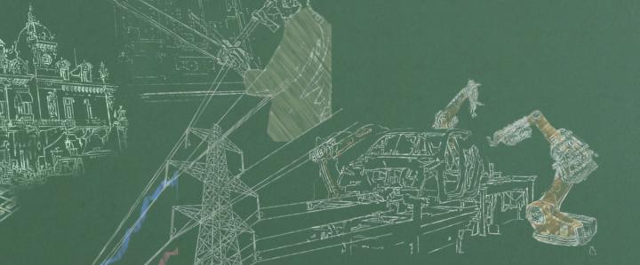 Animiertes Skribble eines Tafelbildes